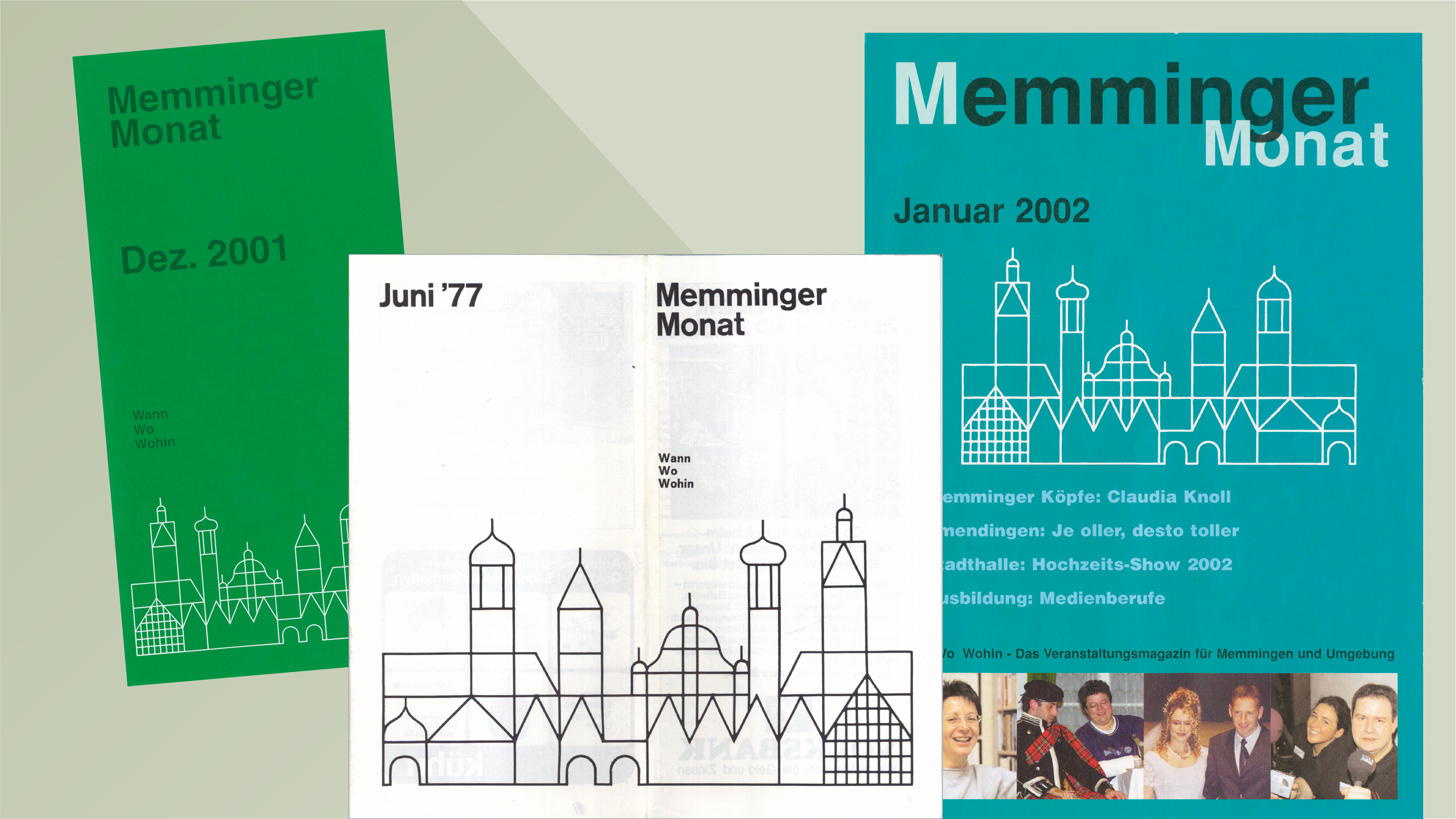 Titelbilder alter Ausgaben des Memminger Monat