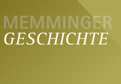 Schriftzug Memminger Geschichte auf goldenem Grund