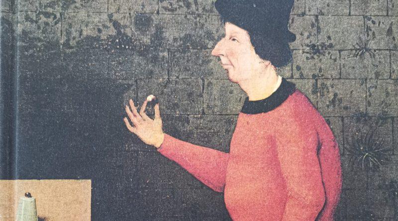 Illustration aus dem Buch: Eine Person mit schwarzem Hut in einem roten Gewand hält eine Kugel in der Hand